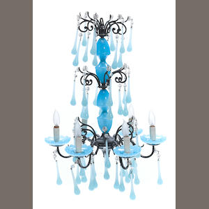 A Murano glass teardrop chandelier