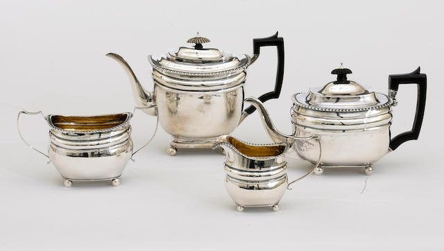 A George III silver assembled four piece tea and coffee set by Henry Nutting, London, 1807 Thos. Halford, London, 1813 and Thos. Halford overstriking another, London, 1813