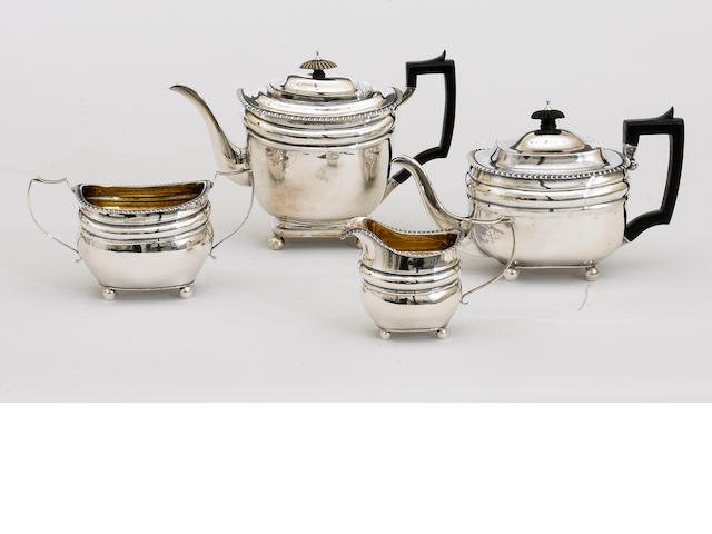 A George III silver assembled four piece tea and coffee set by Henry Nutting, London, 1807<BR />Thos. Halford, London, 1813<BR />and Thos. Halford overstriking another, London, 1813