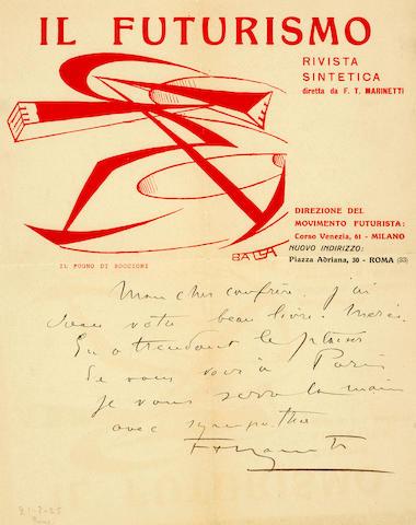 "MARINETTI, FILIPPO TOMMASO. 1876-1944. Futurizm. [Futurism.]  St. Petersburg: ""Prometei,"" 1914.<BR />"