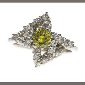 A natural fancy dark gray-greenish yellow diamond, diamond and white metal ring; accompanied with a GIA report