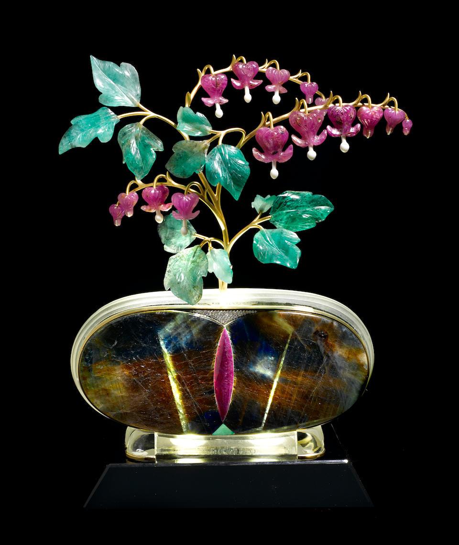 "Illuminated Ruby, Emerald, Sapphire and Gold Flower Study--""Bleeding Hearts"""