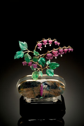 """Bleeding Heart"" Ruby flowers with Emerald and diamond leaves."