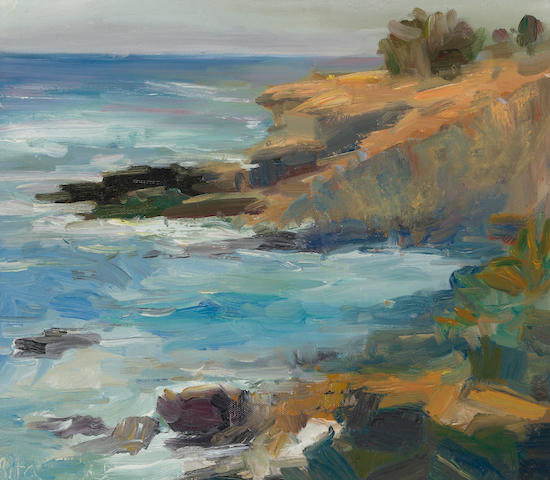 Rita Shulak, Stormy waters at La Jolla Shores, o/c