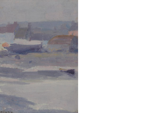 E.I. Couse, 4 plein air oil studies of Etaples in Pais-de-Calais, Picarday (see attached for further detail)