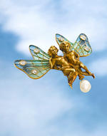 An art nouveau plique-à-jour, diamond and cultured pearl winged putti brooch, Puisson et Hartz succeeded in 1904 by Hartz et Cie, French