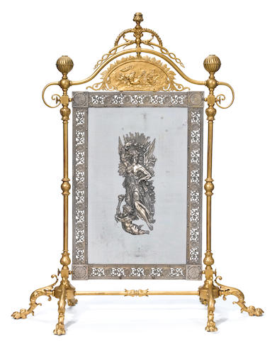 A French gilt and silvered bronze fireguard