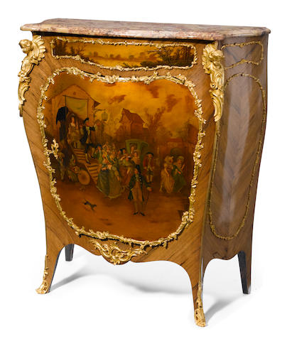 A Louis XV style gilt bronze mounted Vernis Martin cupboard