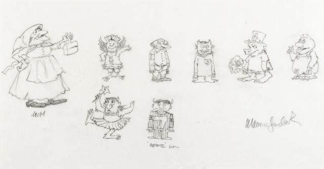 SENDAK, MAURICE. 1928-2012. 7 Little Monsters and Mom, pencil drawing,