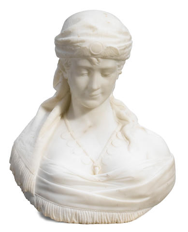 A Continental carved marble bust  20th century