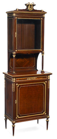 A Louis XVI style gilt bronze mounted mahogany vitrine cabinet  late 19th century