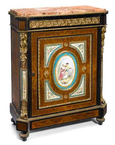 A Napoleon III gilt metal mounted porcelain inset side cabinet