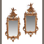 A pair of Chinese Chippendale style giltwood mirrors