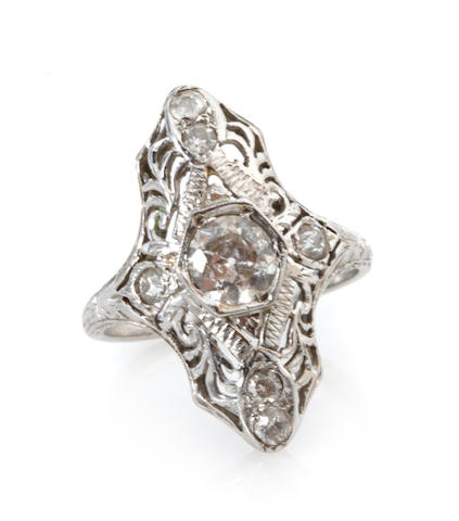 A diamond and white gold navette ring