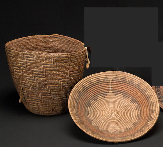 Two Native American polychrome baskets