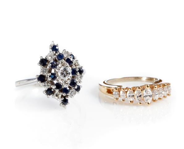 A group of two diamond, sapphire, gold and white gold rings