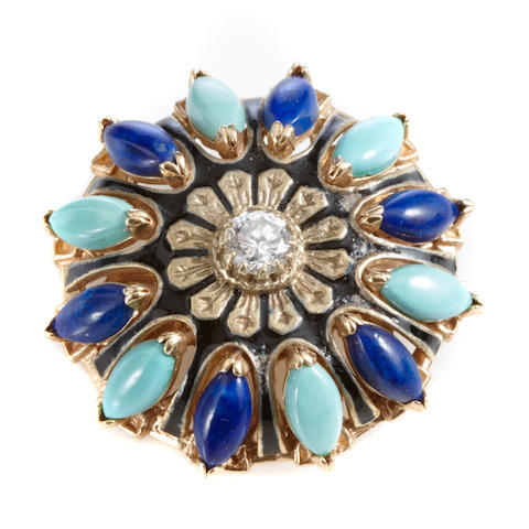 A turquoise, lapis lazuli, diamond, enamel and gold brooch