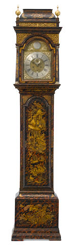 A George III lacquered tall case clock  Joseph Grey, Durham second half 18th century