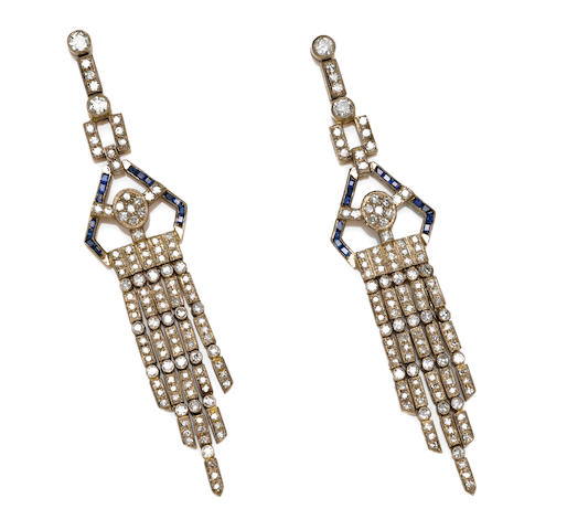 A pair of diamond and sapphire chandelier earrings