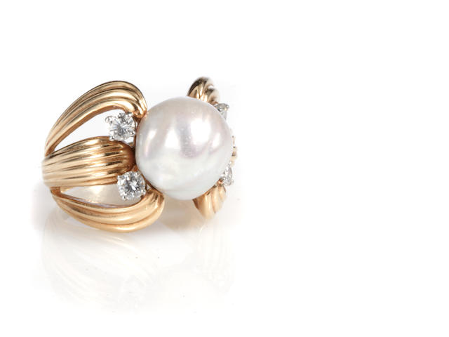 A cultured pearl, diamond and 14k gold ring,