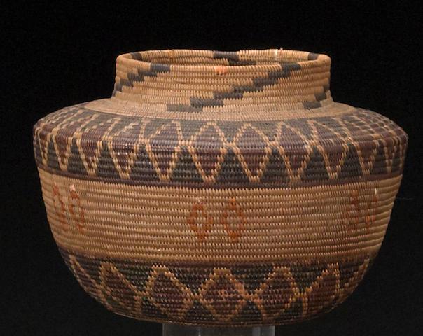 A Yokut polychrome bottleneck basket
