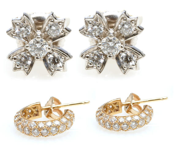 Two pairs of diamond and gold earrings,