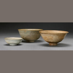 A group of three buncheong ware bowls Joseon dynasty
