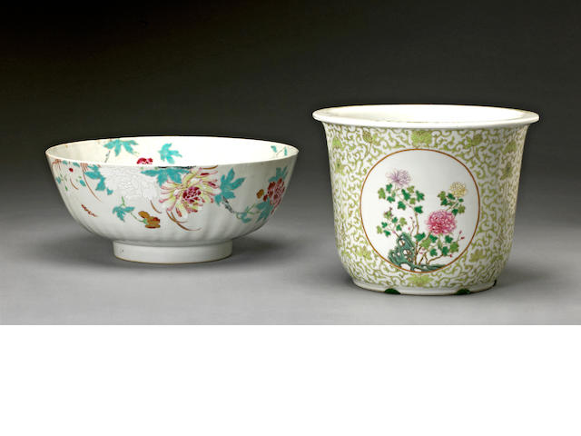 Two polychrome enameled porcelain bowls