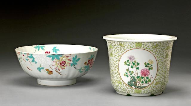 Two polychrome enameled porcelain bowls