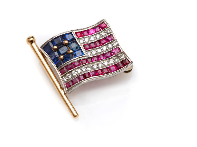A blue sapphire, ruby, diamond and bicolor gold flag pin, Tiffany & Co.