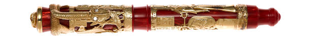 MONTEGRAPPA: Luxor Red Sea 18K Solid Gold Limited Edition 38 Fountain Pen: Rare Prototype