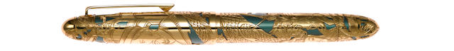 "OMAS: Merveille du Monde Series Marco Polo 18K Solid Gold Limited Edition 300 Fountain Pen by Lefebvre ""I have not told half of what I saw."" -Marco Polo, journals."