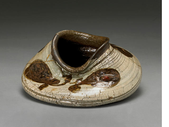 A collapsed buncheong stoneware jar Joseon dynasty
