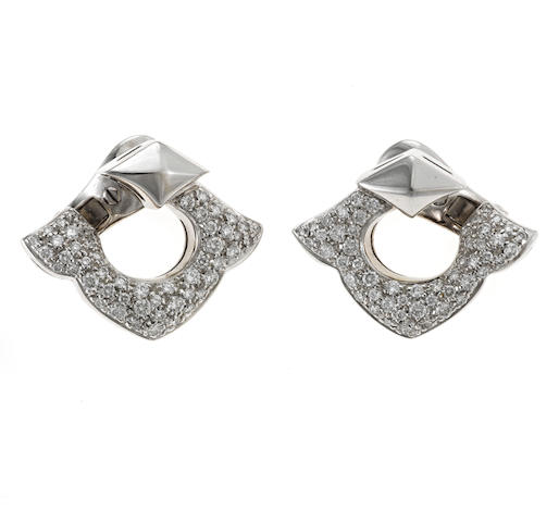 A pair of diamond earrings, Bulgari
