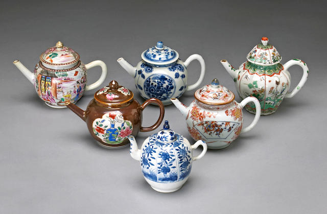 A group of six export porcelain teapots 18th/19th century