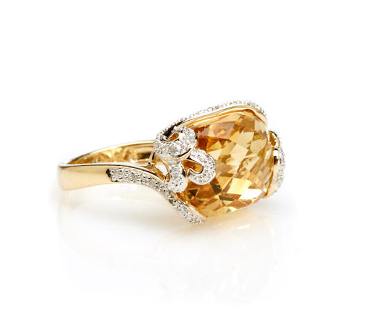 A citrine, diamond and 14k gold ring