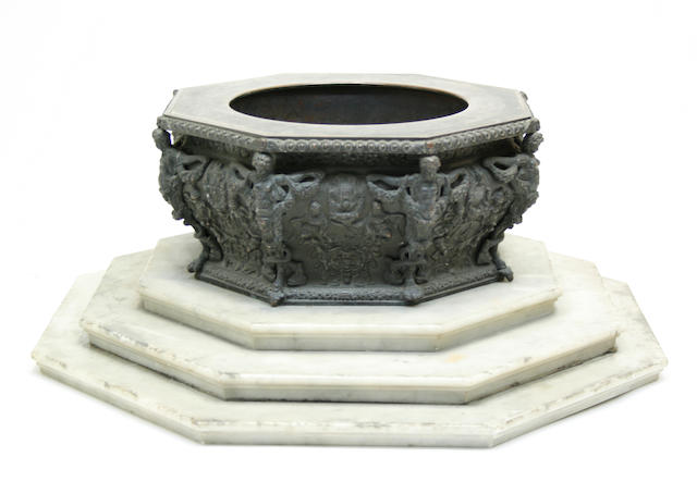 A Renaissance style patinated bronze and marble octagonal table fountain late 19th/early 20th century