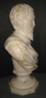An alabaster portrait bust of a 17th century academic 19th century