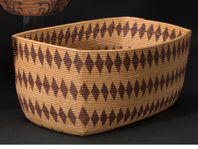 A Maidu rectangular basket