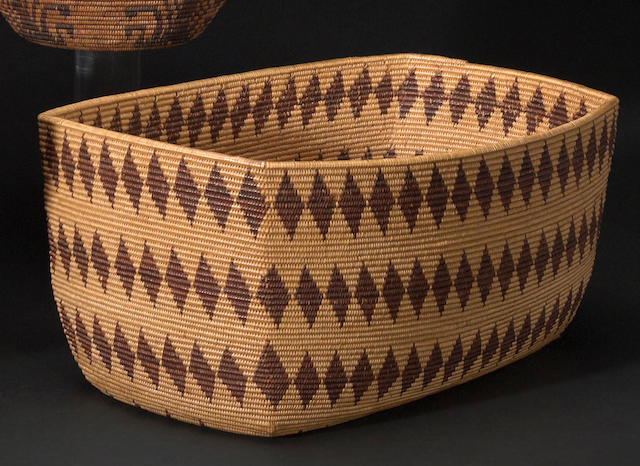 A Maidu rectangular basket