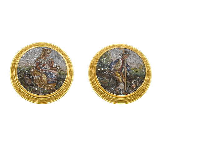 A pair of micromosaic and eighteen karat gold cuff links