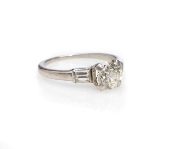 A diamond and white gold ring,