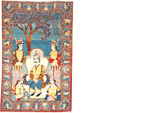 A Kashan pictorial rug Central Persia size approximately 4ft. 3in. x 6ft. 8in.