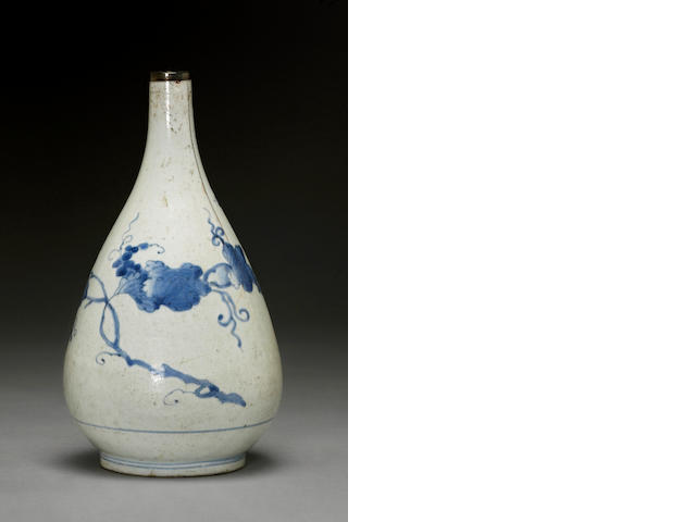 A blue and white porcelain bottle Joseon dynasty, 18th century