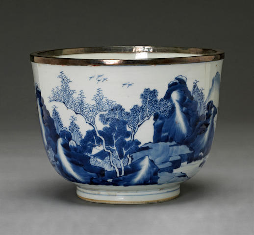 A blue and white deep bowl Transitional to Kangxi period