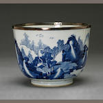 A blue and white deep deep bowl Transitional to Kangxi period