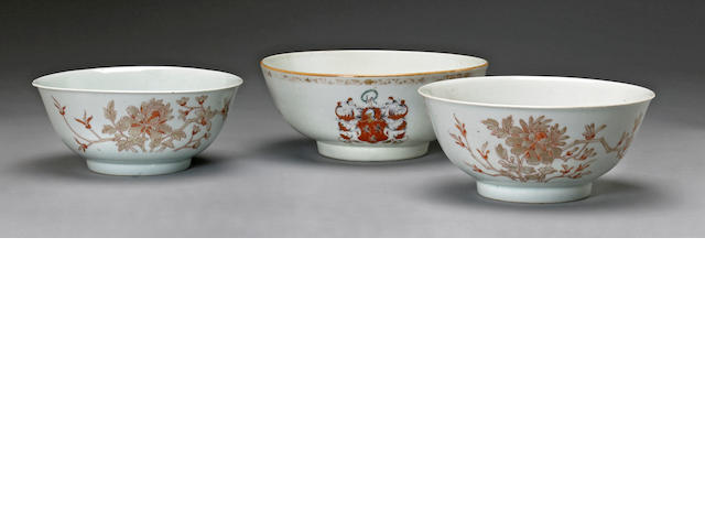 A group of polychrome enameled export porcelain bowls 18th century