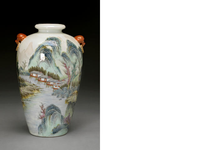 A famille rose enameled porcelain ovoid vase Hongxian mark, Republic period