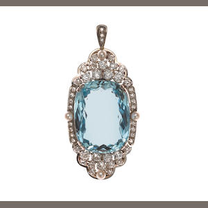 An aquamarine, diamond and seed pearl pendant/enhancer