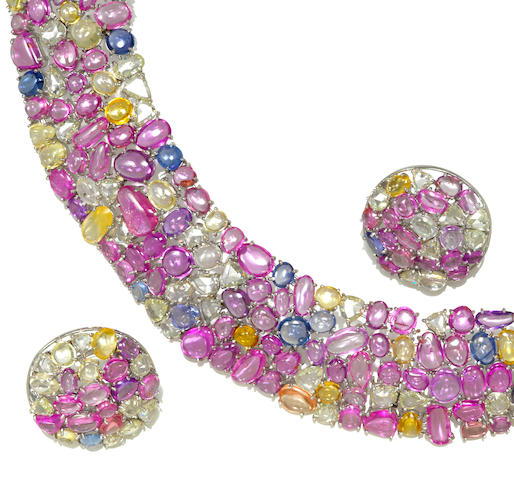 A multi-color sapphire and diamond wide collar necklace together with a pair of earrings en suite